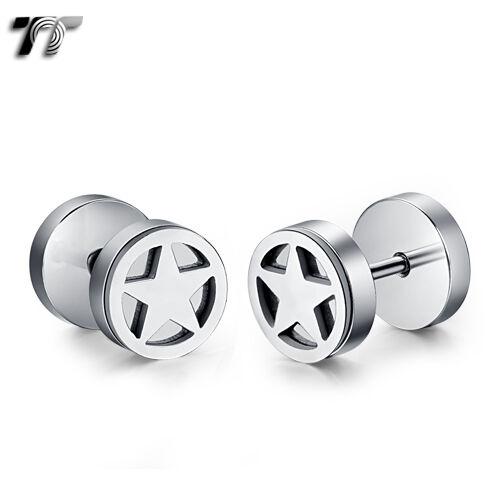 TT 8mm Silver Stainless Steel Star Fake Ear Plug Earrings NEW BE209S