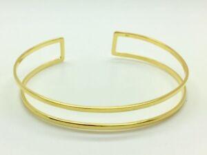 Genuine-18K-Gold-925-Sterling-Silver-Double-Bangle-Bracelet-Open-End-Adjustable