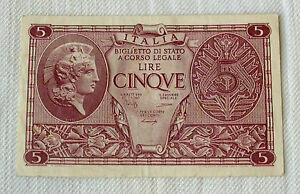 Italy-1944-World-War-II-banknote-5-Lire-WWII-Quality-UNC-amp-CRISP
