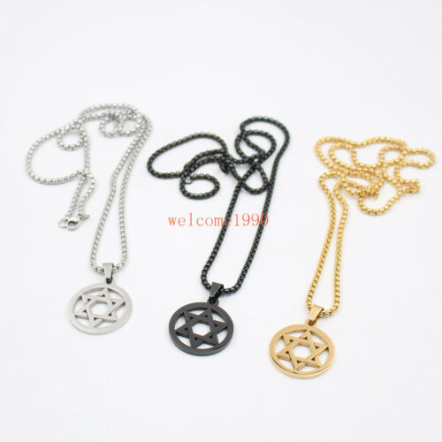 3 Color 16-32/'/' star of David Pendant Stainless Steel 3mm Rolo Chain Necklace