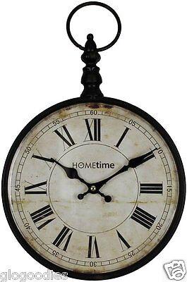 Hometime Metal Wall Clock Black Pocket Watch Design