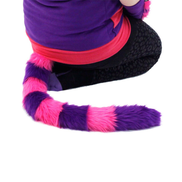 PAWSTAR Best Cheshire CAT TAIL - FURRY kitty Costume Purple Pink Plush [CLA]3561