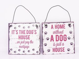 Novelty-Hanging-Plaque-Sign-for-DOG-Lover-Ideal-Christmas-Gift-2-designs-Metal