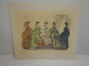 VINTAGE ITALIAN PRINTS GODEY'S FASHIONS FOR DECEMBER 1870 KIMMEL & FORSTER X 4