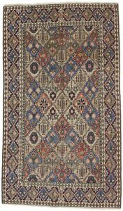 One of a Kind Semi Antique Geometric Design 4X6 Oriental Rug Hand-Knotted Carpet
