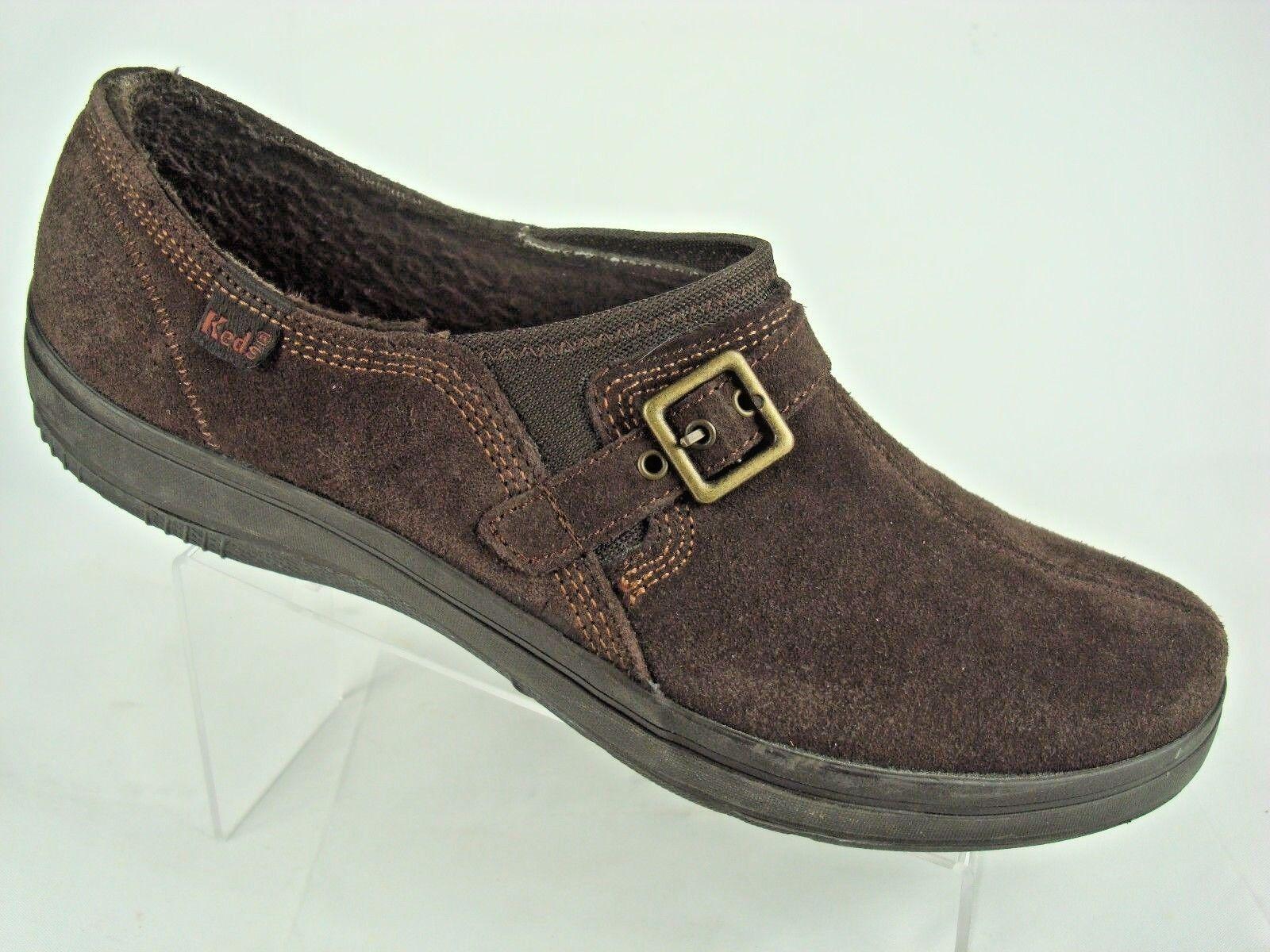 tennis fausse fourrure brun sz 9.5 chaussures en daim basket à haut boucle glisse sur  s basket daim a89ef2
