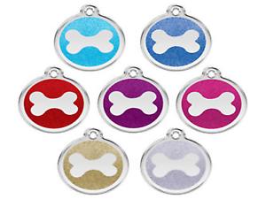 Red-Dingo-paillettes-grave-chien-chat-identite-balises-Brillant-ID-Tag-Bone-Logo