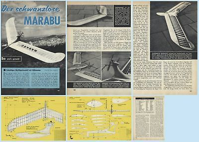 Original von 1962 Bauplan schwanzloses Segelflugmodell mit Hilfsmotor MARABU