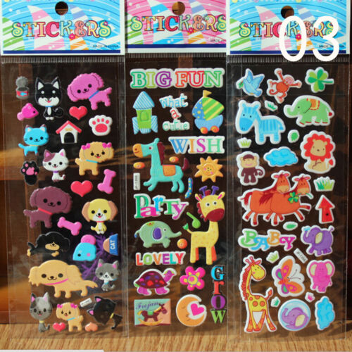 10X//Lot Bubble Stickers 3D Cartoon KIds ClassicToys Sticker School Reward RASK