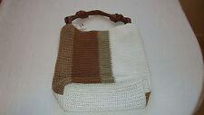 Cato Large Brown/Khaki/Tan/White Crochet Handbag NEW With Tags