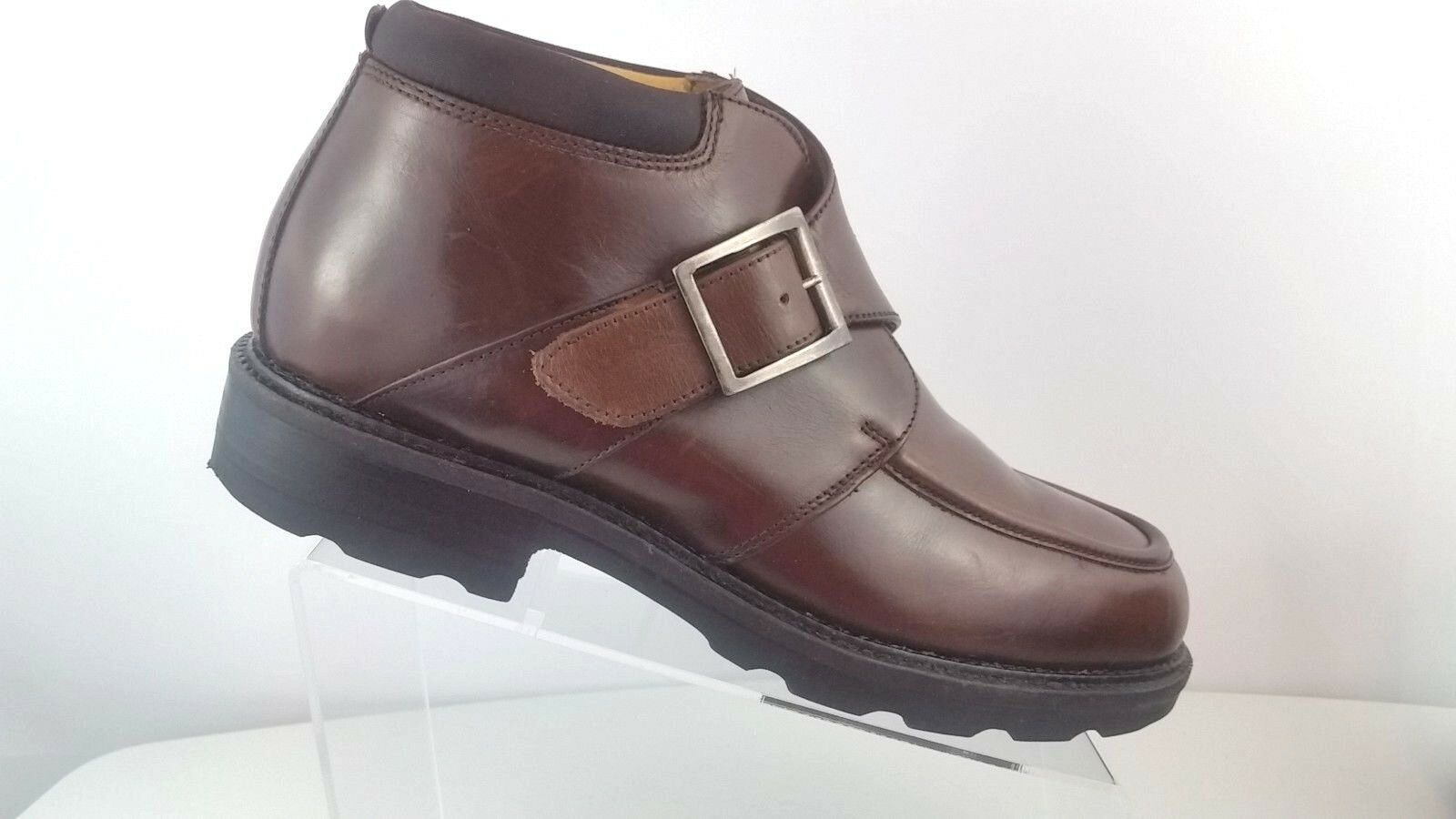 Kenneth Cole Italian Men Brown Leather Ankle Boot Monk Strap G Series size 11.5