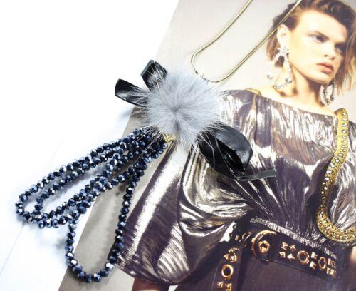 POM POM Long Perles Déclaration Collier Noeud Fourrure Pendentif Gris Moelleux Boule Bijoux