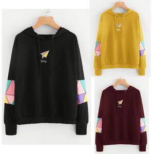 47c765f97b US Womens Long Sleeve Hoodie Sweatshirt Jumper Hooded Loose Pullover Tops  Blouse