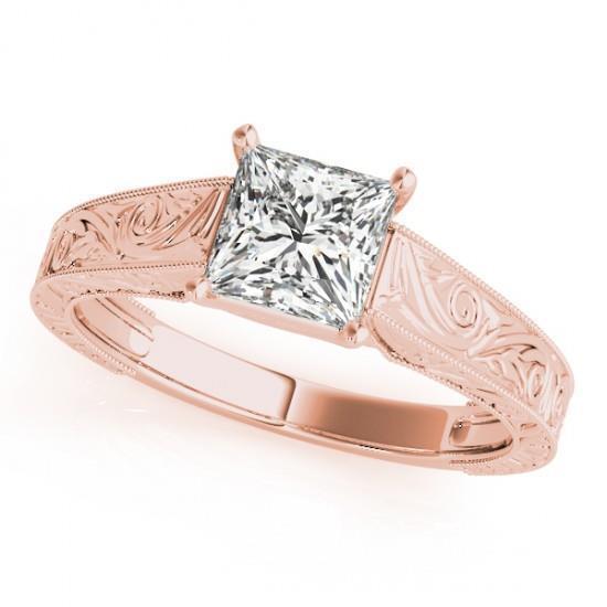LADIES 14k ROSE GOLD TRELLIS SEMI-MOUNT PRINCESS CUT WEDDING ENGAGEMENT RING