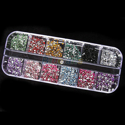 1200X POLISHED 2MM NICE BOXED ROUND NAIL ART TIPS SET ACRYLIC UV GEL 12 COLORS