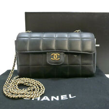 52e94fa124cc71 Authentic CHANEL CC Choco Bar Cross Body Shoulder Bag Black Lambskin  #S212094