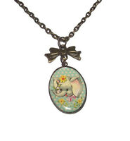 Baby Elephant Cameo Necklace, Bronze Vintage Style Animal Jewellery, Mint Green