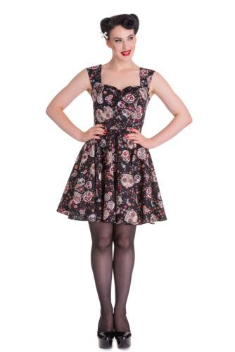 Hell Bunny noir mini robe IDAHO Sucre Crânes Gothique Emo Rock UK Tailles 8 10 14