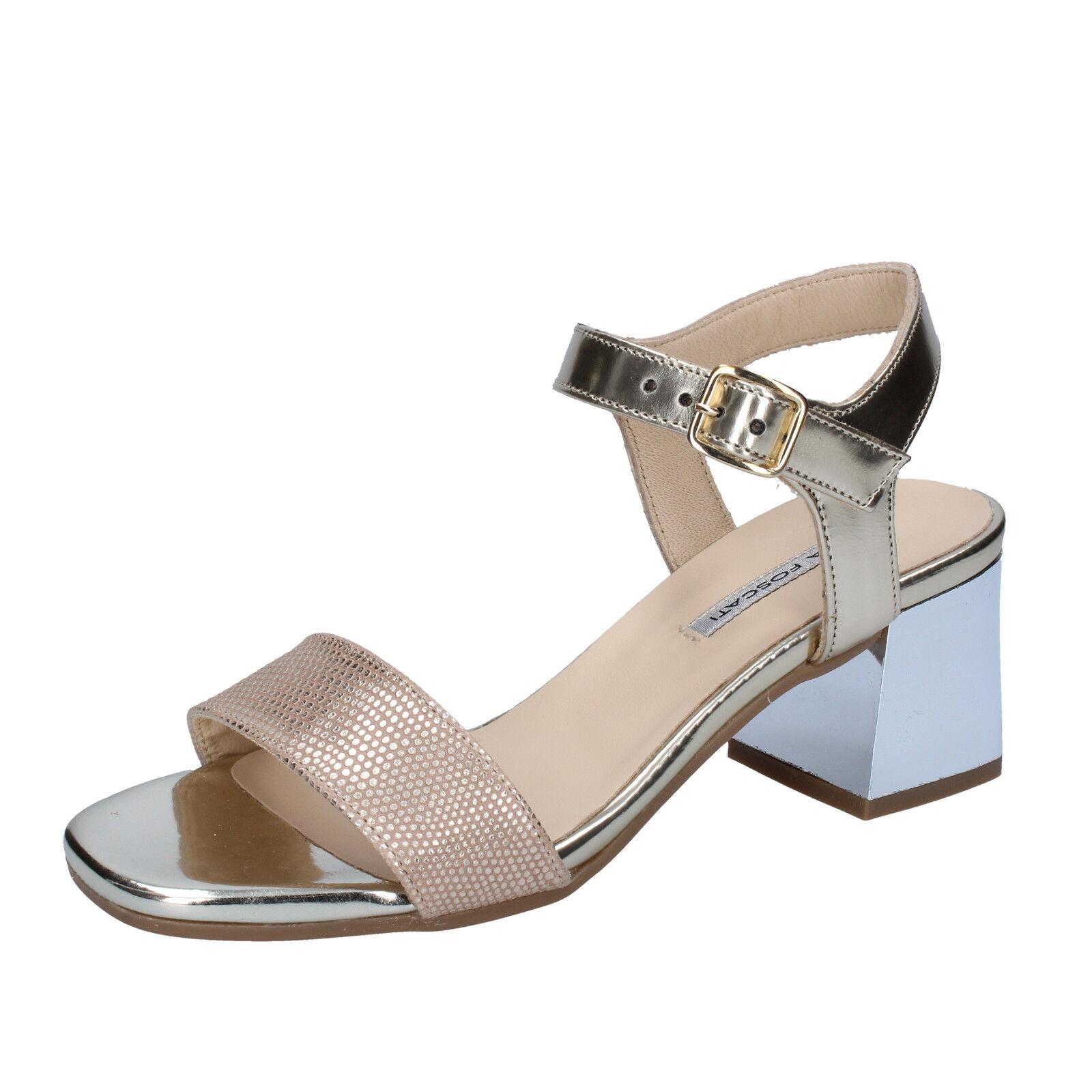 Scarpe donna LEA platino FOSCATI 35 EU sandali platino LEA pelle lucida BZ658-B fb31d1
