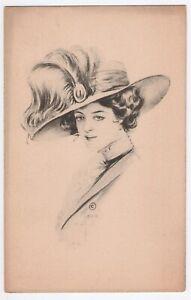 Antique-1900s-Schlesinger-Bros-Postcard-Woman-Fashion-Hat-Victorian-1910-Vtg