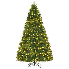 8Ft Pre-Lit Hinged PVC Artificial Christmas Tree w/ 430 LED Lights & Stand Green
