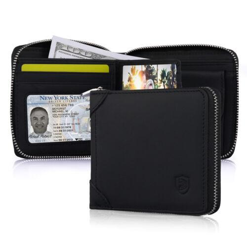 Mens Zipper Zip Around Bifold Wallet Secure Vintage Genuine Leather Organizer