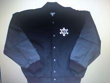 World Series of Poker Leather Jacket Black Leather sleeves Wool body New medium