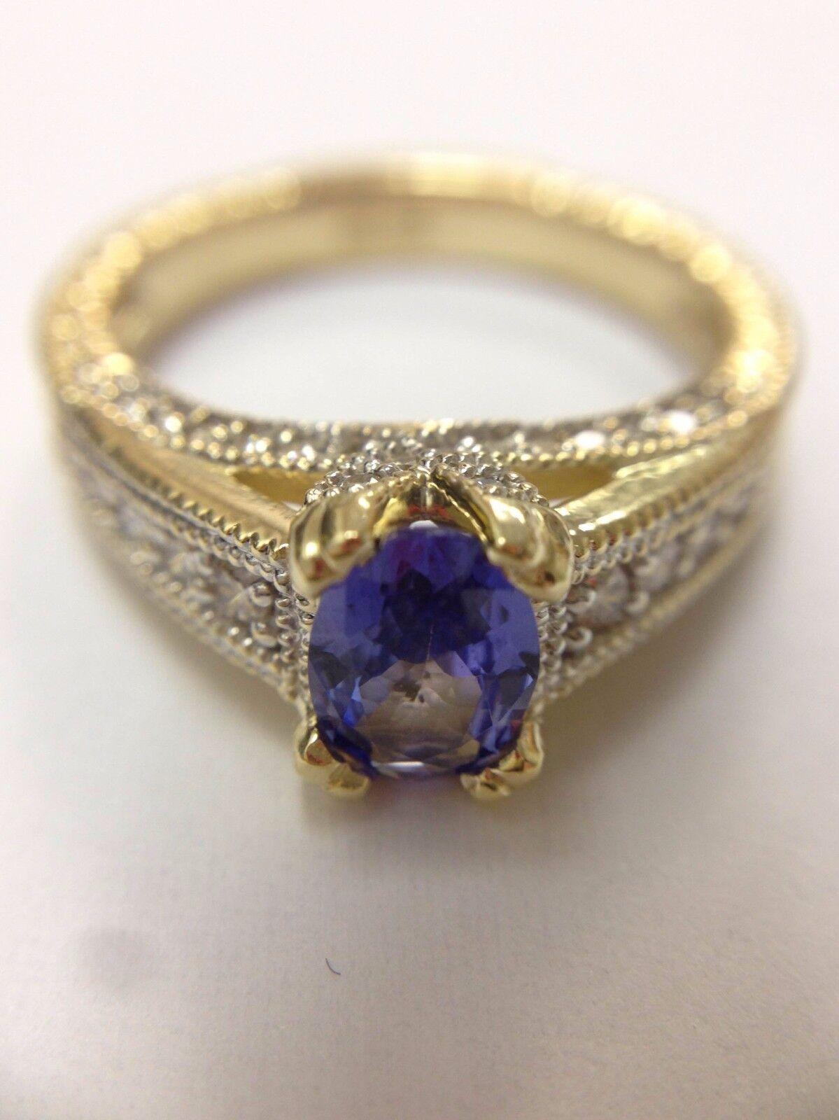 NATURAL Tanzanite Diamond Ring in 14K Two Tone