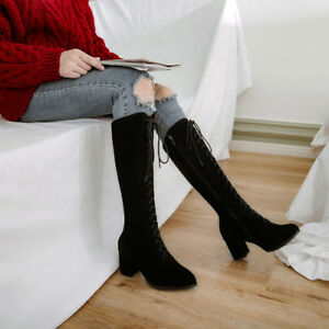 latest fashion detailed pictures cheap price Ladies Casual Lace Up Knee High Boots No Pattern Synthetic Mid ...