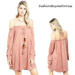 Pink-Haute-Western-Cowgirl-Hippie-Faux-Suede-Off-Shoulder-Tunic-Dress-S-M-L-XL