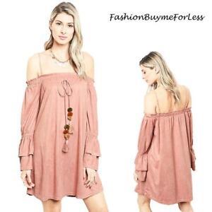 f46687cc176d Details about Pink Haute Western Cowgirl Hippie Faux Suede Off Shoulder  Tunic Dress S M L XL