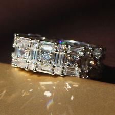 Fashion White Sapphire Birthstone 925 Silver Filled Wedding Bridal Ring Size 9