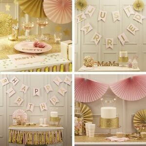 Pastell hochzeit deko party geburtstag dekoration set gold for Dekoration rosegold