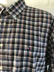 Tommy-Hilfiger-Para-Hombre-de-Manga-Larga-a-Cuadros-Informal-Camisa-Tamano-XXL