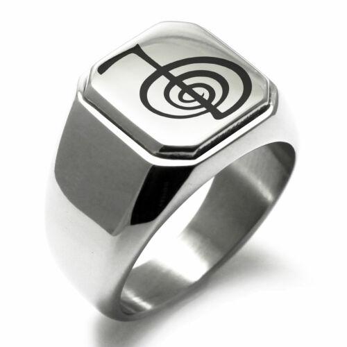 Stainless Steel Reiki Cho Ku Rei Power Mens Square Biker Style Signet Ring