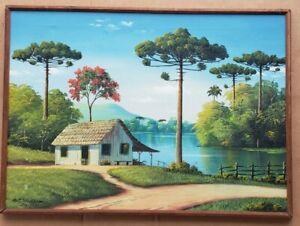 Rare 1966 Signed Horst Schnepper Acrylic Brazil Rural Landscape Painting Brasil