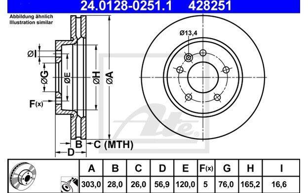 ATE Juego de 2 discos freno Antes 303mm ventilado para VW KIA 24.0128-0251.1