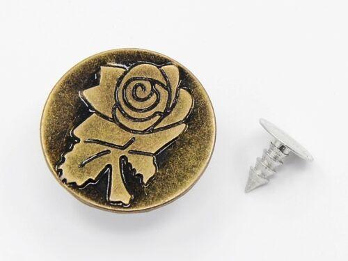 Vintage Knöpfe Rose Metallknöpfe 10 Jeansknöpfe bronze