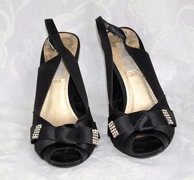 SC Size UK 5/EU 38 Negro Satinado Peep Toes Noche Zapatos Gemas Bling * ex con