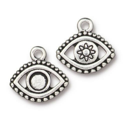 Antique Silver Plated T1083-Q4 Empty for Crystal 4 TierraCast Evil Eye Charms
