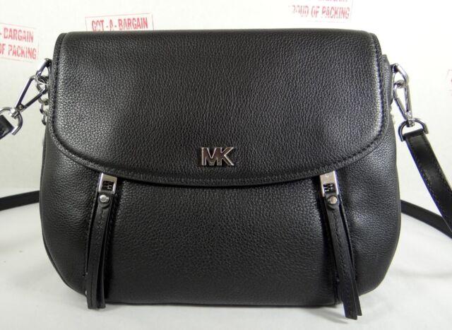 834fbf71bc16 Michael Kors Evie Black Leather Medium Shoulder Flap Crossbody ...