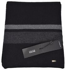 NEW Boss Hugo Boss Men's Esar Black Grey Merino Wool Plaque Logo Scarf Muffler
