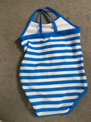 M/&S BLUE /& WHITE STRIPED SWIMMING COSTUME WITH CENTRAL 3D FLOWER IN PINK BNWT