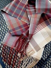 Mulberry Scarf Shawl Ancient tartan Wool Red Charcoal White Grey Classic Tweed N