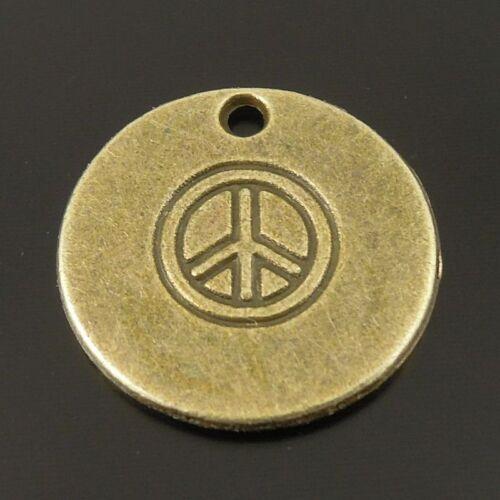 15pcs Vintage Bronze ronde pièce Look sculpté Paix Signe Alliage Pendentifs Bijoux