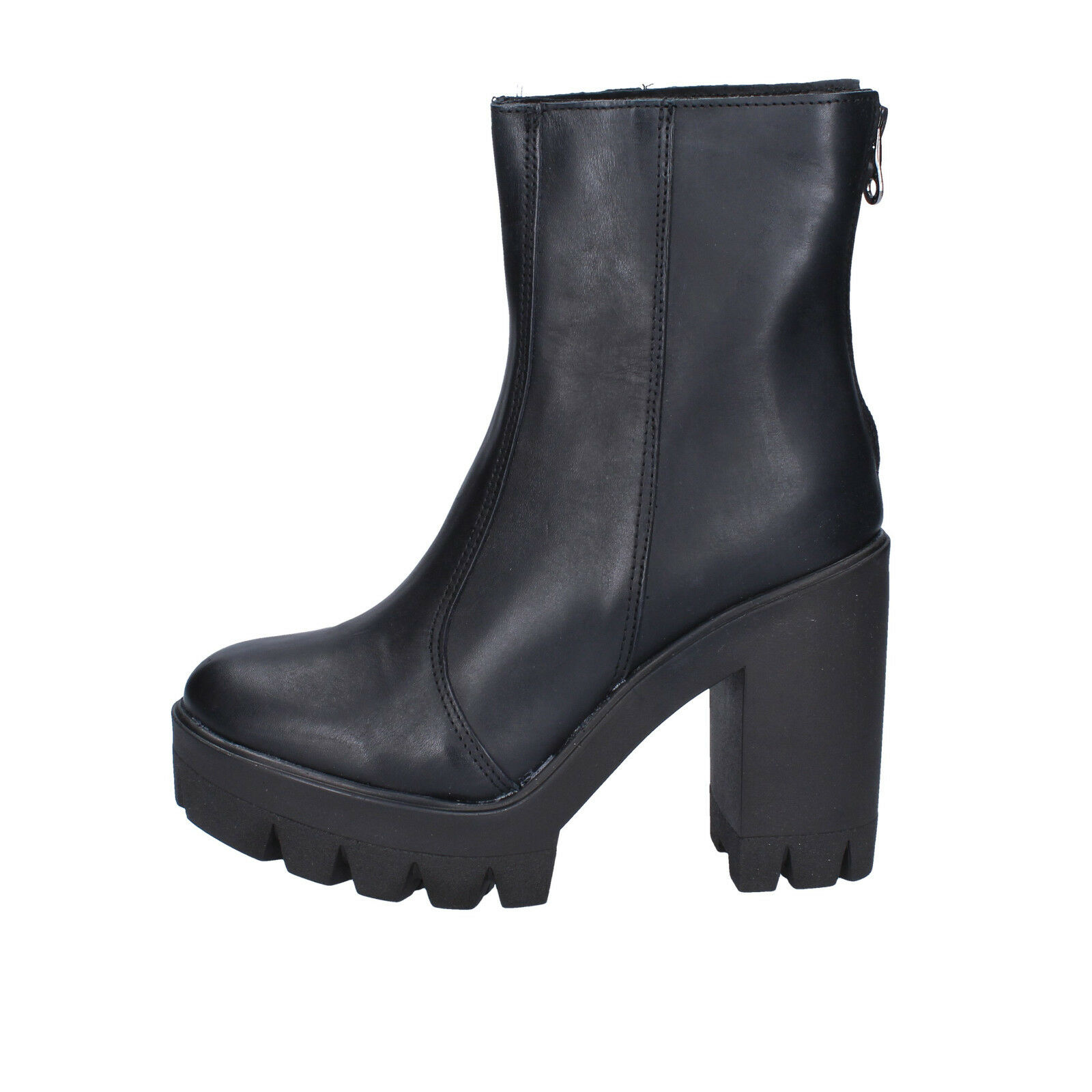 womens shoes boots MADE IN ITALY 2 (EU 35) ankle boots shoes black leather BX760-35 6bec03