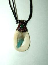 "Bone Pendant Necklace w/ Blue Feather 24"" adjustable slide cord New BLUE"