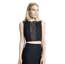 NWT Dolce Vita Cara Crop Top $125 Black Lace Sleeveless Semi-Sheer Blouse Sz L