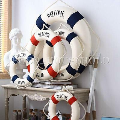Home Ornaments Hanging Boat Lifebuoy Welcome Aboard Nautical Style Wall Decor