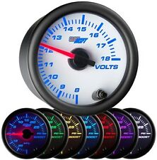 52mm GLOWSHIFT WHITE 7 COLOR ELECTRICAL VOLT METER VOLTAGE GAUGE GS-W705